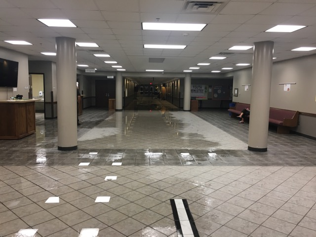 The+flood+in+the+Narthex+immediately+after+the+sprinklers+shut+off+on+the+night+of+Sept.+4.
